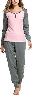 Sweetnight Women's Boat Neck Long Sleeve Shirt Elastic Waist Pants Sleepwear Pajamas Set