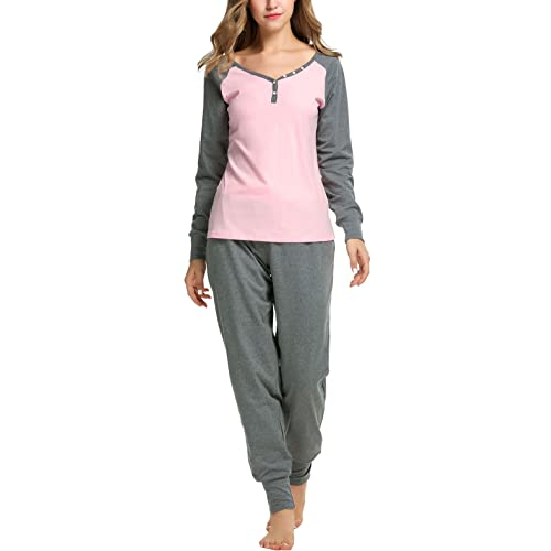 2a7b177fac Sweetnight Women s Boat Neck Long Sleeve Shirt Elastic Waist Pants Sleepwear  Pajamas Set