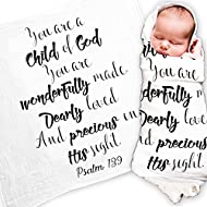 """Ocean Drop Designs - White Muslin Swaddle Blankets - Psalm 139 'Child of God' Quote - for Christening, Baptism, Baby Shower, Godchild Gift - 100% Cotton, Breathable - Machine Washable (47""""x47"""")"""