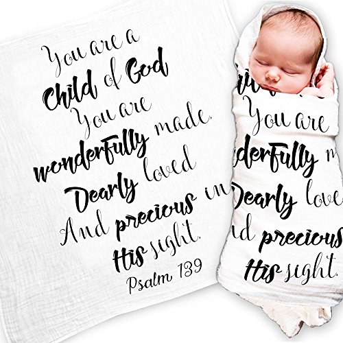 Ocean Drop Designs - White Muslin Swaddle Blankets - Psalm 139 Child of God