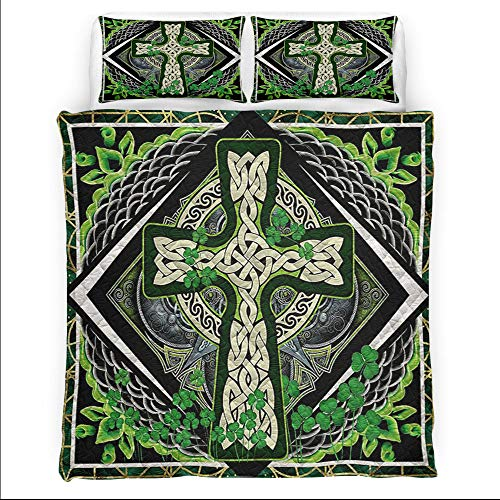 Personalized Irish Shamrock Celtic Cross Green Bed Set Quilt Quilt Sets King Queen Twin Throw Size Birthday St Patricks Day Gifts Bedding Cover Wall Hanging Mothers Fathers Day