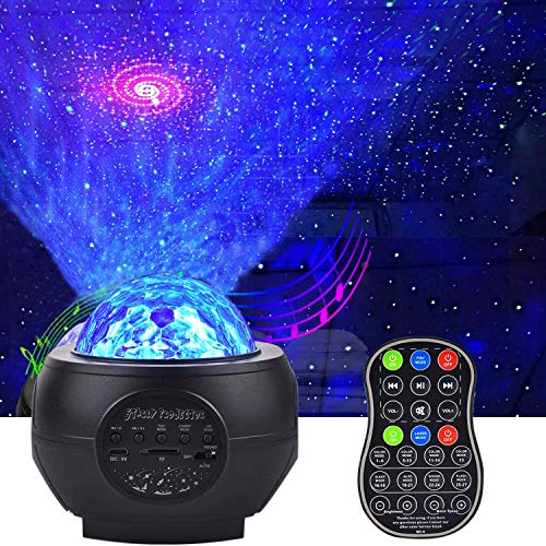 AONCO LED Sternenlicht Projektor, Rotierende Wasserwellen Projektionslampe, Ferngesteuerte Nachtlichter, Farbwechsel Musikspieler mit Bluetooth Fernbedienung für Kinder Erwachsene Zimmer Dekoration