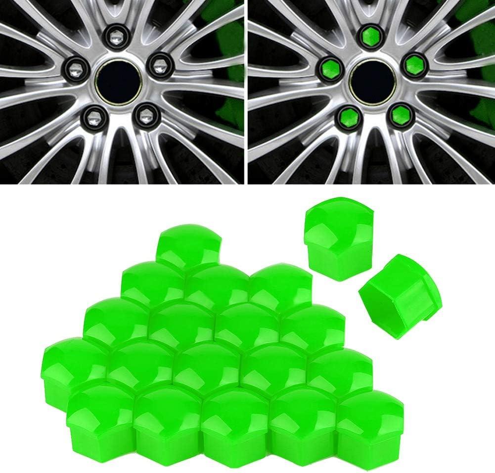 Cubierta del cubo 20 piezas 17 mm Tuerca Rueda de autom/óvil Auto Cubo Tornillo Protecci/ón Tapa antirrobo Cubierta Yellow