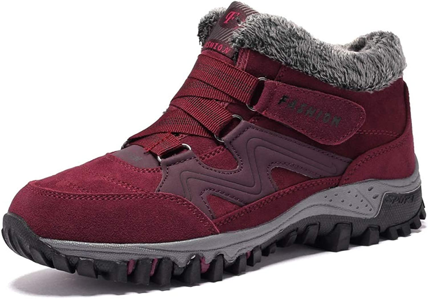 He-yanjing Women's Warm Hiking shoes, Winter Sports Warm Couple shoes Plus Velvet Outdoor Cotton shoes for Men and Women Hiking Wear-Resistant Non-Slip Warm Hiking shoes
