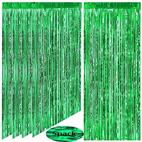 AIBAOBAO 5Pcs cortina metálica de hojalata con flecos, cortina brillante para cumpleaños,...