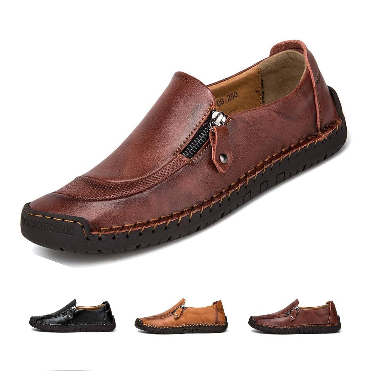 絶縁する白い導体[Ziitop] カジュアルシューズ メンズ ビジネスシューズ 本革 ローファー 紳士靴 革靴 スリップオン ウォーキング 通気性 ドライビングシューズ