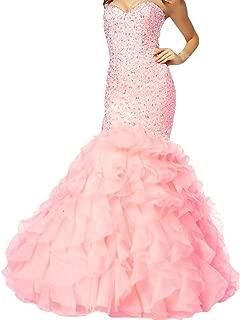 Crystals Long Mermaid Ruffles Beaded Sweetheart Corset Formal Prom Evening Dresses