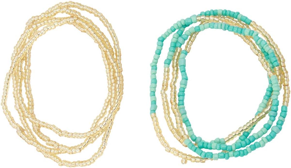 Happyyami 2Pcs Waist Beads Boho African Belly Chain Pregnancy Beach Body Chain Summer Bikini Jewelry for Woman Girl (Colorful)