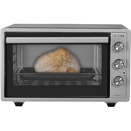 ICQN Mini four de 42 litres avec éclairage intérieur et recirculation   Mini four à pizza   Double vitrage   Fonction minuterie   Émaillé   Gris Inox