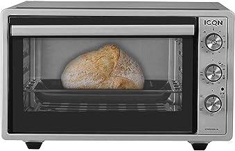 ICQN Mini four de 42 litres avec éclairage intérieur et recirculation | Mini four à pizza | Double vitrage | Fonction minu...