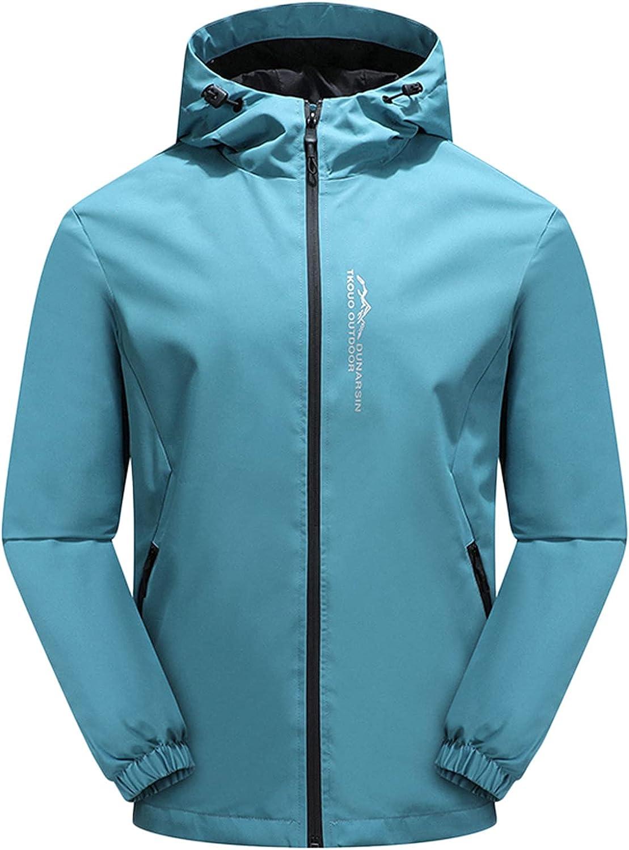 Mens Rain Jackets Plus Size Big and Tall Raincoat Outdoor Waterproof Lightweight Windproof Adjustable Windbreaker
