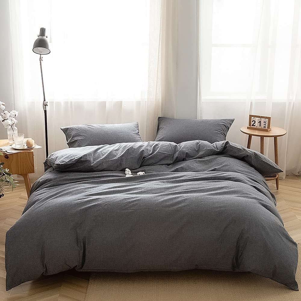 FACE TWO sold out 3-Piece Max 47% OFF Duvet Cover Washed Cotton Queen 100%