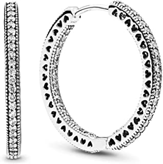 PANDORA Jewelry - Sparkle and Hearts Hoop Earrings for Women in PANDORA Rose and Sterling Silver with Clear Cubic Zirconia