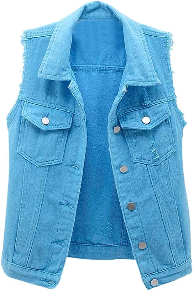 chouyatou Women's Cute Frayed Cuff Sleeveless Candy Color Denim Jean Vest Jacket