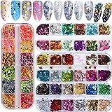 4 Scatole 48 Colori paillettes per unghie, Glitter Sequins del chiodo Paillettes Nail Art Olografiche Unghie 3D Paillette Misto Rotondo Sottile Lucido Decorazioni,per Faccia,Trucco, Nail Art,Ecc