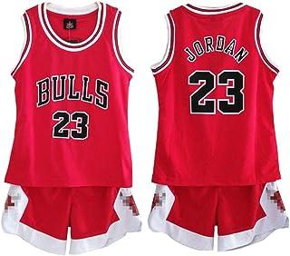 03ab954803516 Daoseng Enfant garçon NBA Michael Jordan   23 Chicago Bulls Short de Basket-Ball  Retro