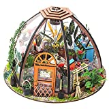 EXCEART DIY Casa de Muñecas Miniatura Kit Jardín Casa de Muñecas Kit Rompecabezas Casa a Prueba de Polvo Casa de Madera Modelo con Luz LED Niños DIY Juguetes Niños Regalo de Cumpleaños