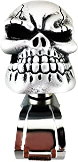 Abfer Power Handle Car Steering Wheel Booster Aid Control Handle Ball Silver Skull Steering Wheel Knob for Vehicle