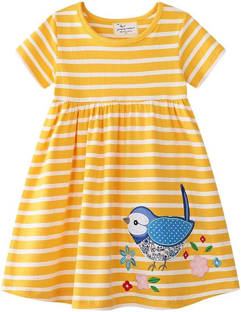 Baby Girl Fixed price for sale Cotton Round Latest item Neck Sleeve Short Stripe Lattice Dress
