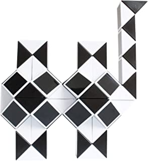Mipartebo Magic Snake Cube Twist Puzzles 72 Wedges Brain Teaser Toys White and Black