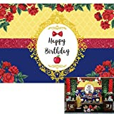 Allenjoy Princess Red and Royal Blue Flower Birthday Backdrop Kids Girls Rose Yellower Mirror Happy Bday Party Apple Bowknot Cake Table Decor Banner Photoshoot Background 7x5ft Photo Booth Props