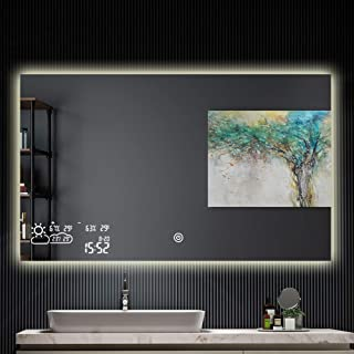 Horizontal Vanity Bathroom Mirror with LED Light Touch Switch Demister Weather Forecast Lighted Makeup Mirror Wall Mounted Mirror- 39.4''x 23.6''