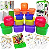 21 Day Portion Control Container kit - (14 Pieces Labeled) + Complete Guide + 21 Day Planner eBook + Recipe eBook, BPA Free Color Coded Meal Prep System For Diet And Weight Loss