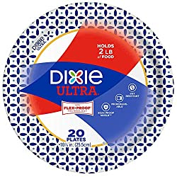 """Dixie Ultra Paper Plates, 10 1/16"""", 20 count, Dinner Size Printed Disposable Plates"""