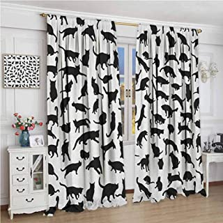 zojihouse Cat Lover Black Silhouettes of Cats in Different Poses Scratching Stretching and Playing Decor Curtains Black White Blackout Drapes for Bedroom W72xL63