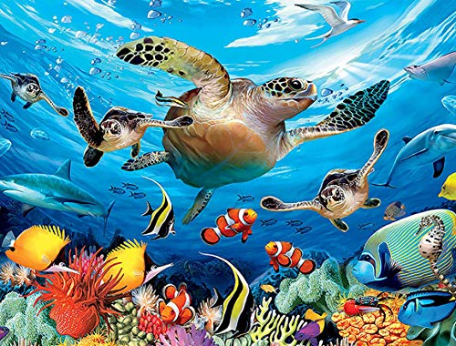 DIY 5D Diamond Painting Kits for Adults,Sea Turtle Full Drill Crystal Rhinestone Embroidery for Home Wall Decor(16X12in)