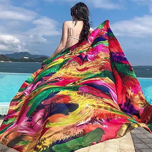 MJ-Beach Towel Toalla de Playa, Protector Solar de Verano, Bohemio Junto al mar, Elegante, multifunción, Protector Solar, Doble Uso, Toalla de Playa, pañuelo de Seda, 180 * 140 cm.