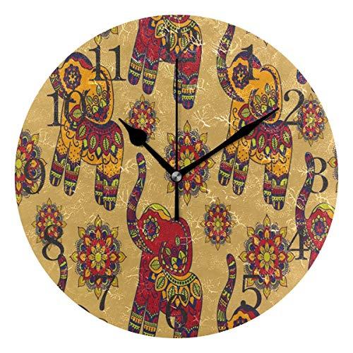 BTJKDFD Reloj de pared vintage gráfico vector indio loto étnico elefante silencioso sin hacer tictac, redondo fácil de leer en casa oficina escuela reloj