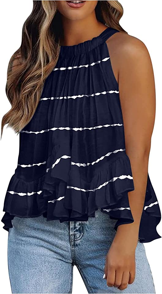QINFUNI Women's Flowy Sleeveless Tank Top Casual Sexy Tops Summer T-Shirt Blouse Vest Tunics