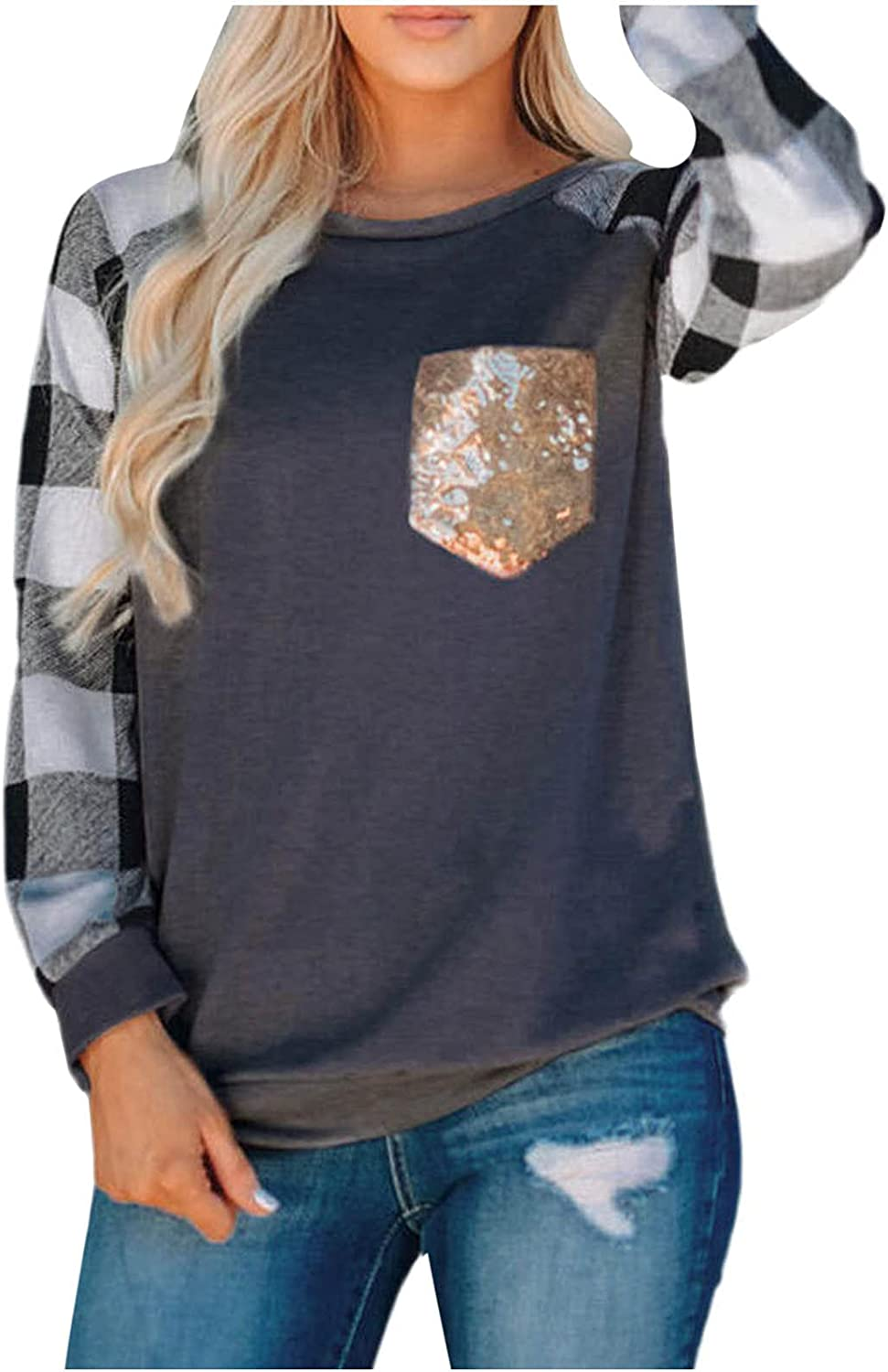 Women's Plaid Print Long Sleeves With Sequin Pockets On Chest Pullover Long Sleeve O-Neck Casual Loose Blouse