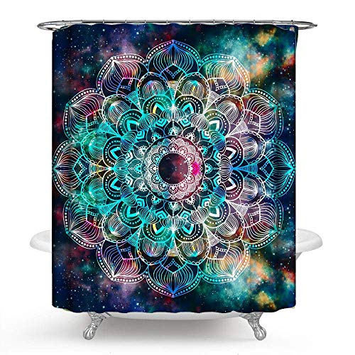 PHNAM Star Flower Mandala Shower Curtain with Hooks Night...