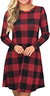 Women's Long Sleeve Plaid Color Block Casual Swing Loose...