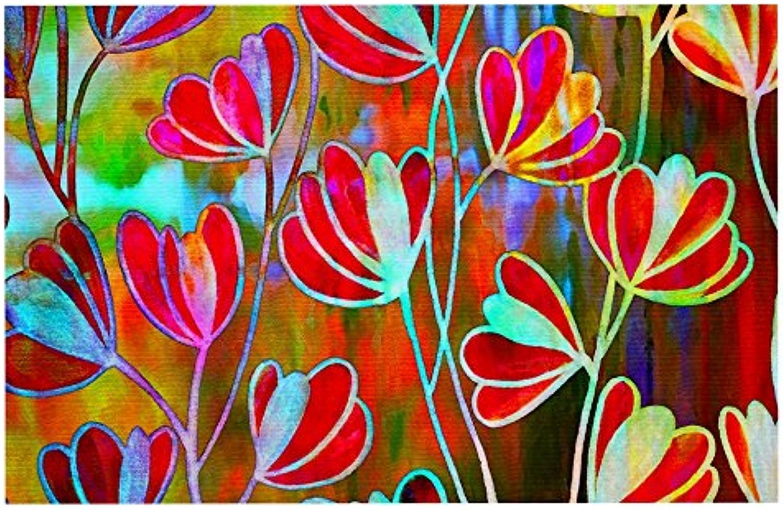 KESS InHouse Ebi Emporium EfflorescenceTechnicolor  Red Multicolor Pet Bowl Placemat, 24  x 15