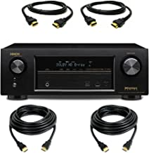 DENON AVR-X1100W 7.2 In-Command Receiver with Bluetooth, WiFi, HDMI 2.0 with a Pair of 10ft and 6ft HDMI Cables