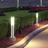 2er-Set Außenbereich Steh Lampe IP44 Beleuchtung Garten Leuchte Edelstahl modern