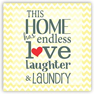 TheYaYaCafe Home Has Endless Love Home Printed Square Acrylic Fridge Magnet (Beige)