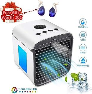 Nifogo Aire Acondicionado, Aire Refrigerador, Portatil Climatizador Evaporativo, 3-en-1 Mini Ventilador Humidificador Purificador de Aire, a Prueba de Fugas, Nuevo Papel de Filtro (Blanco-1)