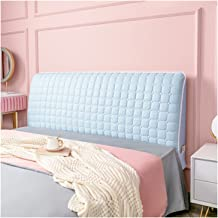 Bed Headboard Cover,Protector Thicken Cotton Dustproof Stretch Solid Color for Twin Queen Full King Size Beds (Color : Blu...