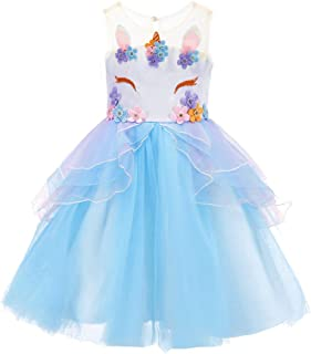 Flower Girl Rainbow Unicorn Tulle Dress with 3D Embroidery Beading Birthday Party Ball Gowns