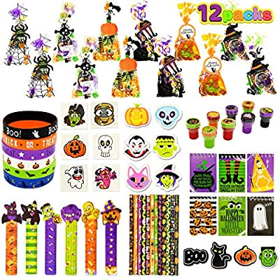 Halloween Party Favors Set, 12 Pack Prefilled Goody Bags with Halloween Gift Tag, Halloween Stationery Set Including Halloween Themed Pencils, Rulers, Erasers, Notepads, Foam Stickers, Stamps, Silicone Wristbands and Tattoos for Kids Trick or Treat, Party