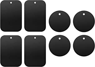 Mount Metal Plate with 3M Adhesive Replacement Kits for Magnet Mount Magnetic Cell Phone Car Mount Holder Cradle with 4 Rectangle and 4 Round Universal(8 Pack-Black)