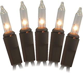 J Hofert 100 Clear Christmas Lights on Brown Wire, 18 Lighted Length, 20 Total Length, UL Approved Indoor/Outdoor Use