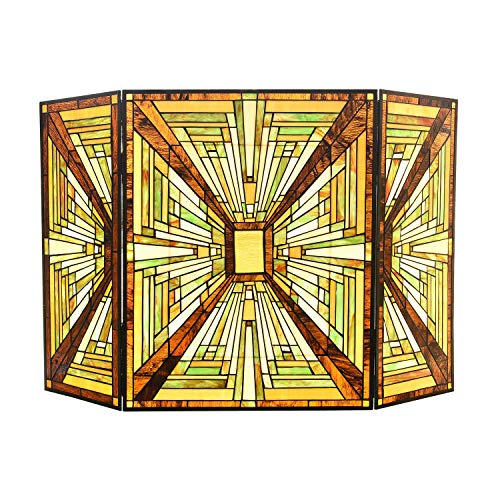 Capulina Tiffany Fireplace Screen Grate W44 x H28 Stained Glass Screens Gas and Wood Burning...