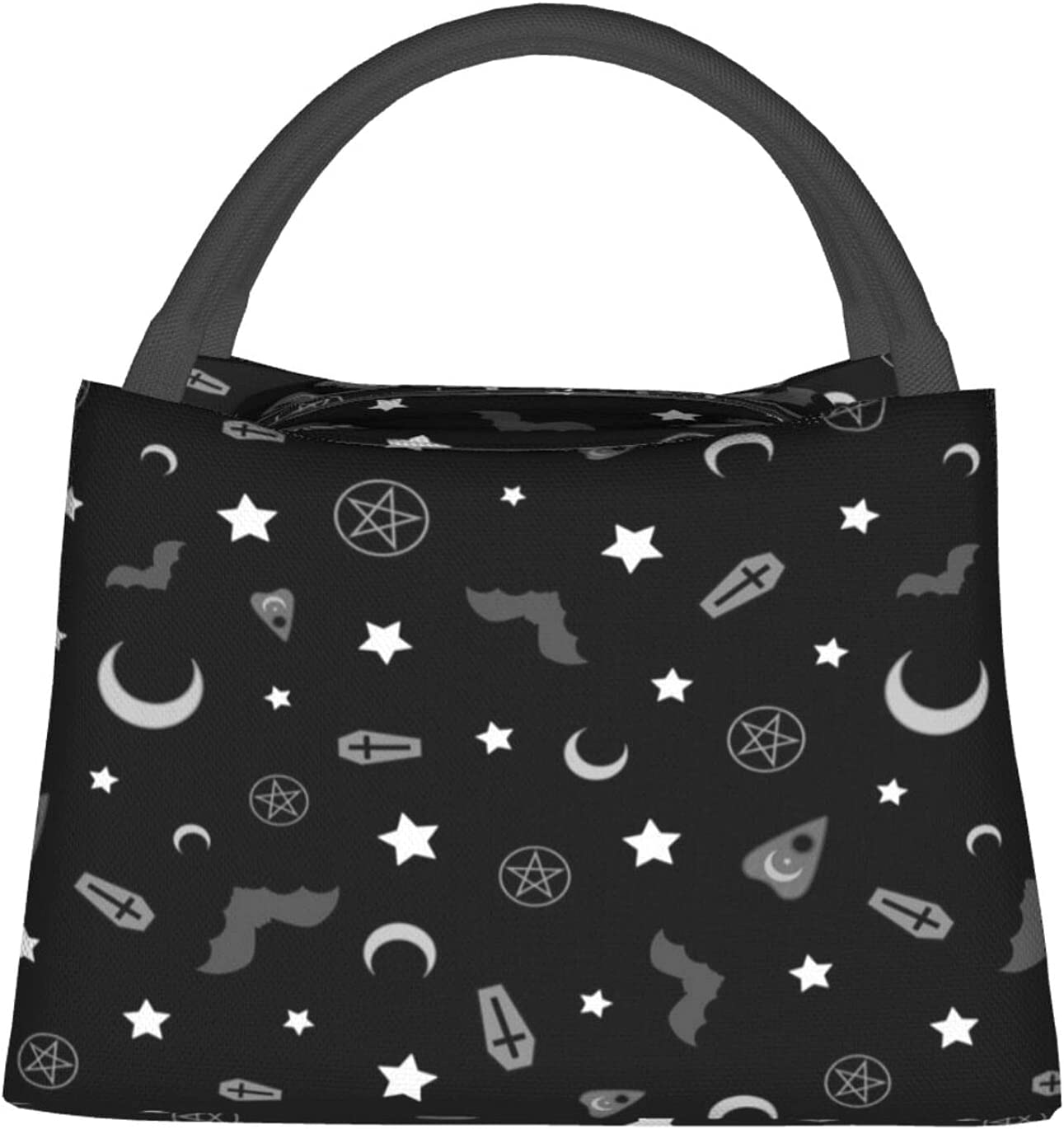 Goth Occult Pattern Mens Lunch Box Lunch Bag Insulated Lunch Box Bag Cooler Reusable Tote Bag Meal Prep Handbag For Men/Women/Girls/Boys