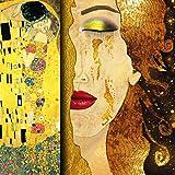 Time4art Cuadro impreso sobre lienzo de Gustav Klimt El beso y tranen, varios tamaños (80 x 80 cm)