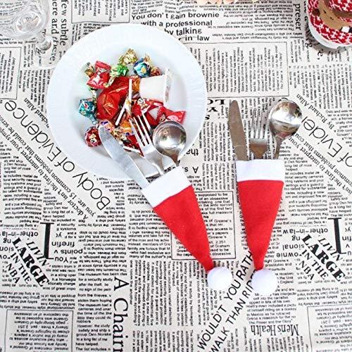 LIJIANME Weihnachtsdeko 5 PCS Weihnachten Dekorative Geschirr Messer-Gabel-Halter Taschen-Diät-Werkzeuge Dekor-Tasche